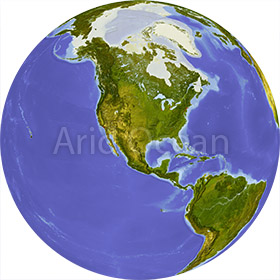 Globe, shaded relief, centered on North America