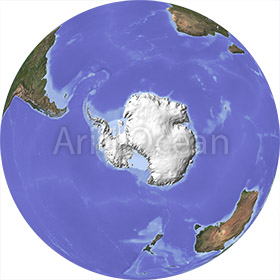 Globe, shaded relief, centered on the South Pole