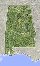 Alabama, shaded relief map.
