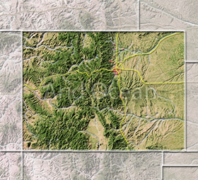 Colorado, shaded relief map.