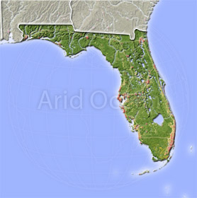Florida, shaded relief map.