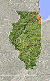Illinois, shaded relief map.