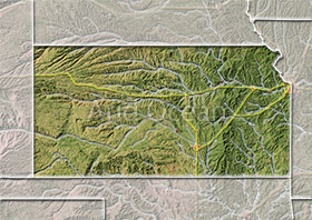 Kansas, shaded relief map.