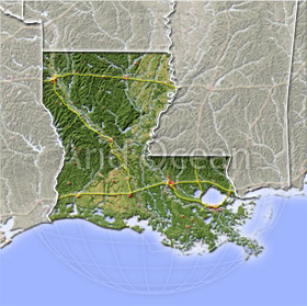 Louisiana, shaded relief map.