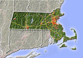 Massachusetts, shaded relief map.