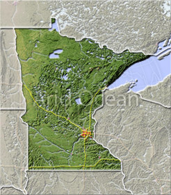 Minnesota, shaded relief map.