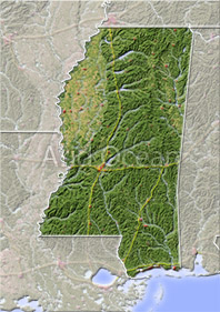 Mississippi, shaded relief map.