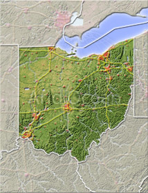 Ohio, shaded relief map.
