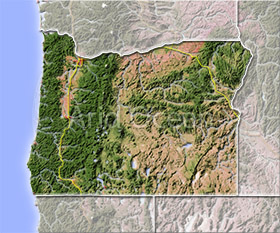 Oregon, shaded relief map.
