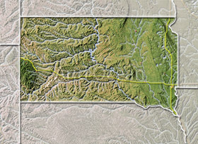 South Dakota, shaded relief map.