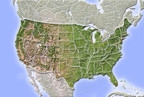 USA, shaded relief map with state borders.