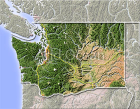 Washington, shaded relief map.