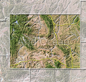 Wyoming, shaded relief map.