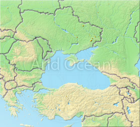Black Sea, shaded relief map.