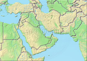 Near East, shaded relief map.
