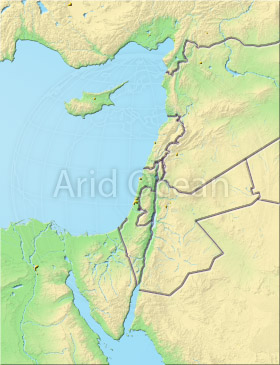 Palestine, shaded relief map.