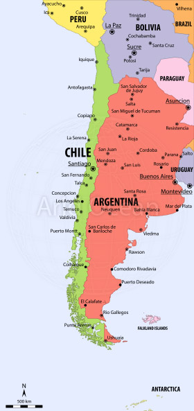 Map Of Chile And Surrounding Countries