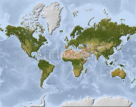 World Mercator map with shaded relief and ocean depth colors