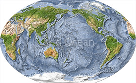 World map, shaded relief with ocean floor, cented on the Pacific.