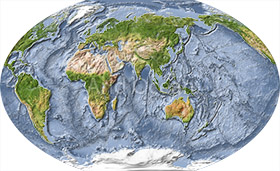 World map, shaded relief with ocean floor, centered on India.
