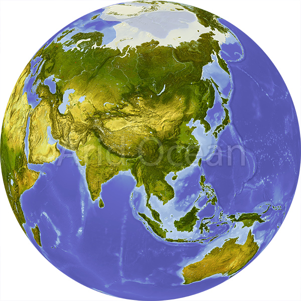 globe shaded relief centered on asia