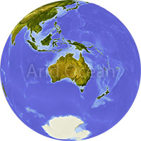 Globe, shaded relief, centered on Australia