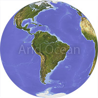 Globe, shaded relief, centered on South America