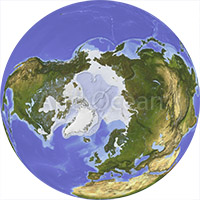 Globe, shaded relief, centered on the North Pole