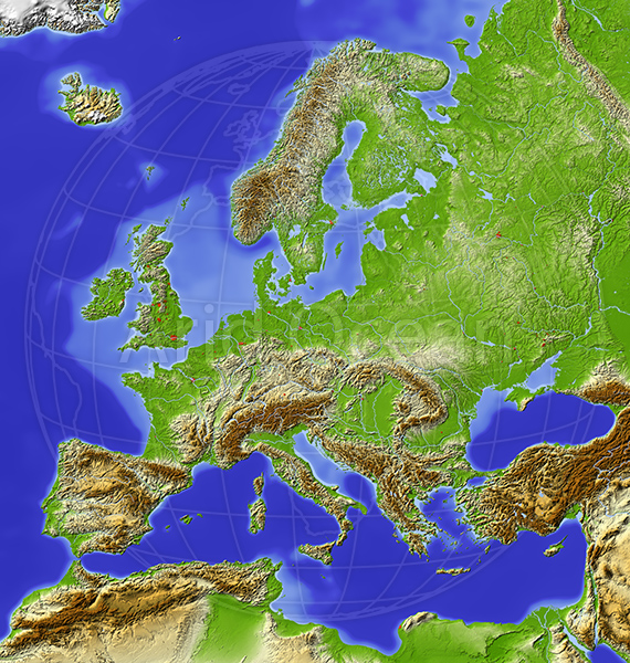 Europe, shaded relief map