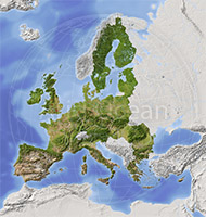 European Union, shaded relief map