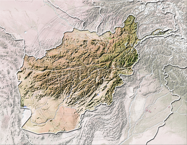 Afghanistan, shaded relief map.