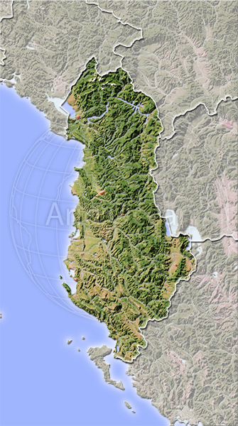 Albania, shaded relief map.