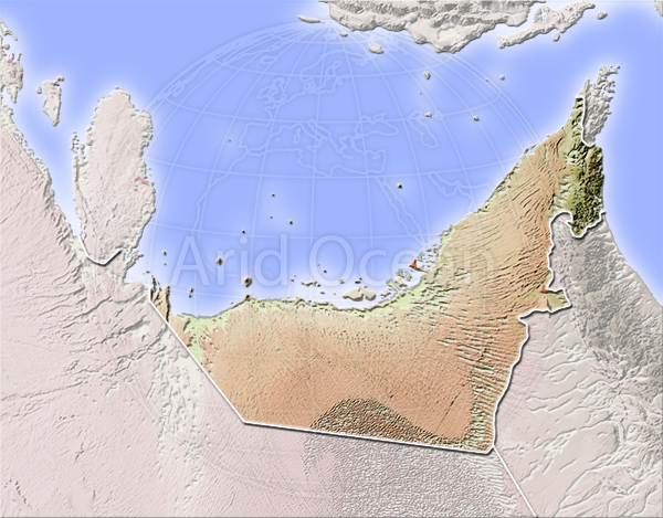 Arab Emirates, shaded relief map.