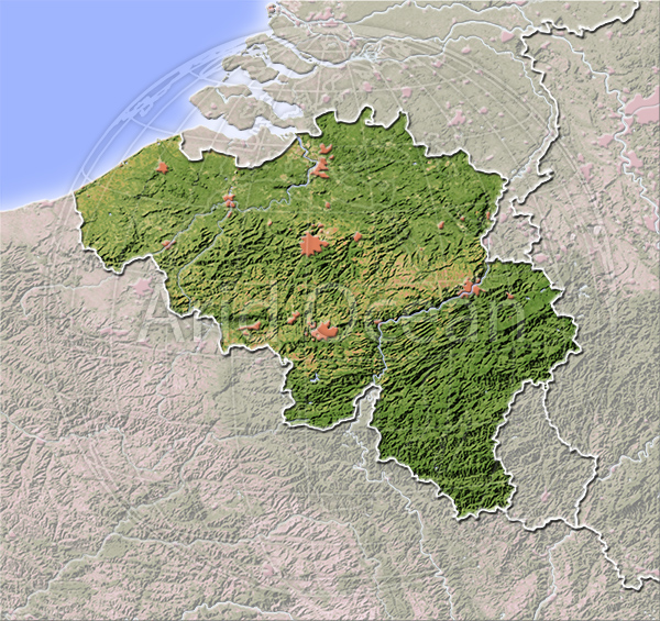 Belgium, shaded relief map.