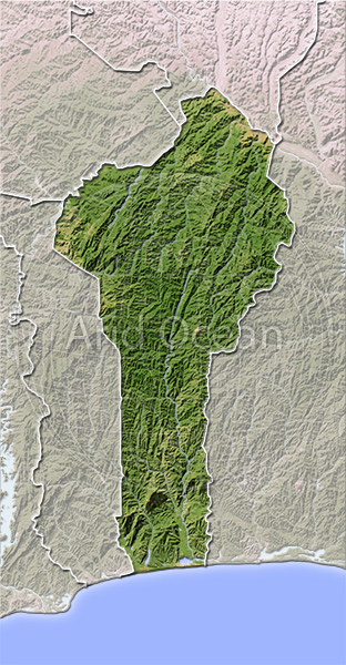 Benin, shaded relief map.