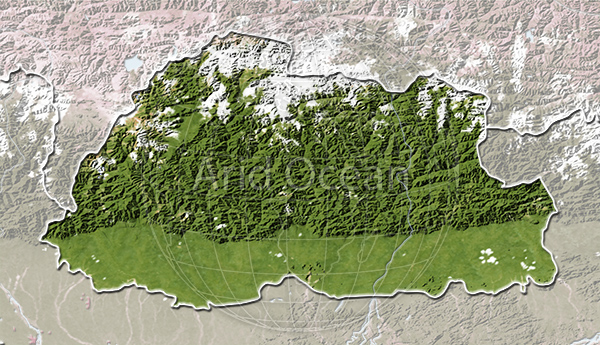 Bhutan, shaded relief map.