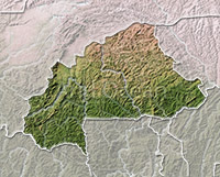Burkina Faso, shaded relief map.