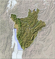 Burundi, shaded relief map.