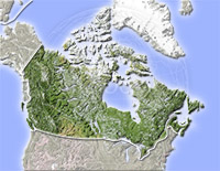Canada, shaded relief map.