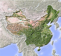 China, shaded relief map.