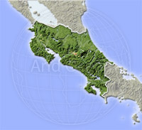 Costa Rica, shaded relief map.