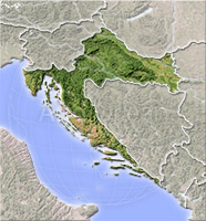 Croatia, shaded relief map.