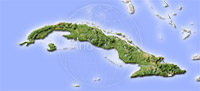Cuba, shaded relief map.