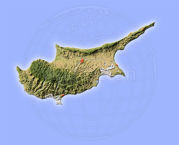 Cyprus, shaded relief map.