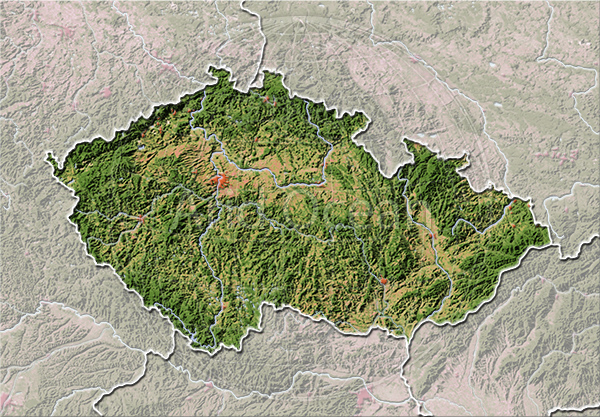 Czech Republik, shaded relief map.
