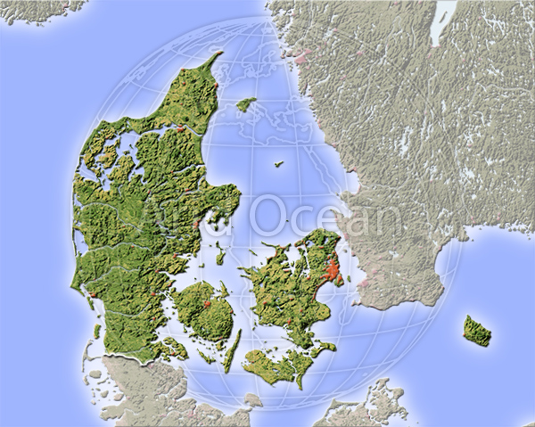 Denmark, shaded relief map.