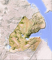 Djibouti, shaded relief map.