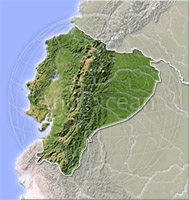 Ecuador, shaded relief map.