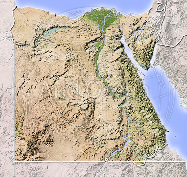 Egypt, shaded relief map.