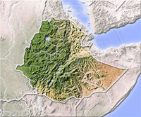 Ethiopia, shaded relief map.
